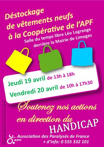 Affiche déstockage du 19 et 20 avril derrière la mairie de Limoges